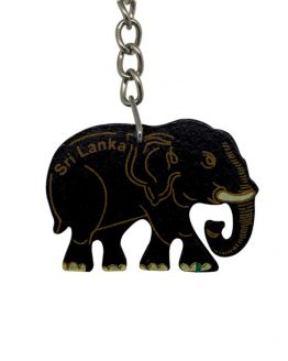 ceylon elephant wooden key tag BLACK