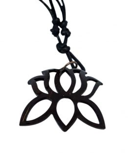 Coconut shell lotus necklace