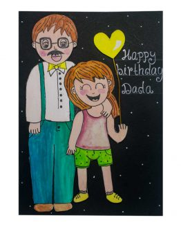 Water color painted Birthday Card for dad