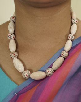 Beautiful Beaded Terracotta vintage decorated Necklace