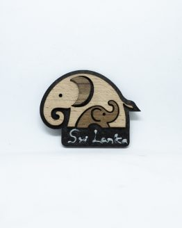 Elephant wooden Magnet Black and gold color