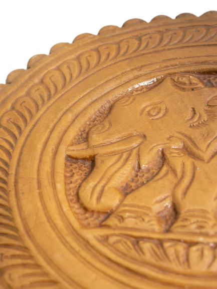 Engraved Leather Round Cup Coaster