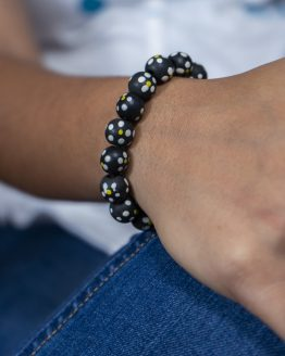 terracotta Black Beaded Bracelet
